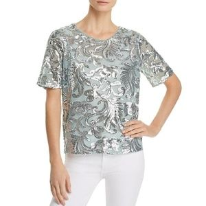 Short Sleeves Sequined  Top